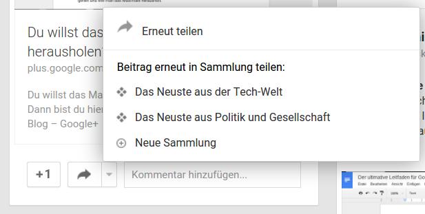 Inhalte teilen bei Google+
