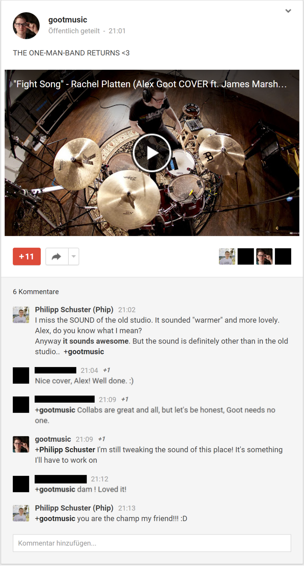 Konversation von YouTube [Ansicht im Google+ Interface]