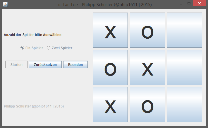 Java Tic Tac Toe: Spiel in Aktion