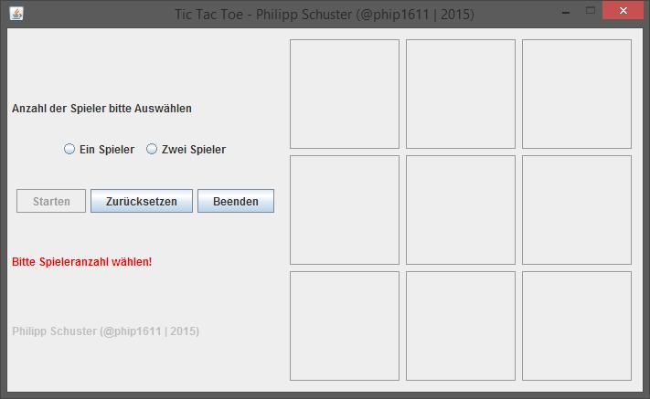 Java Tic Tac Toe: Startbildschirm