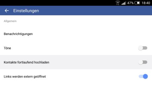 Facebook-App: Kontaktdaten hochladen (Screenshot 18.07.2015)