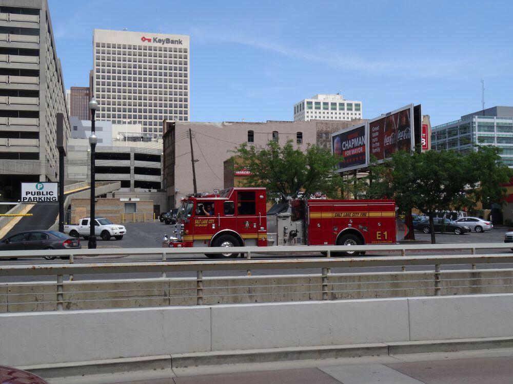 Typisch amerikanisches Feuerwehrauto - Salt Lake City, Innenstadt