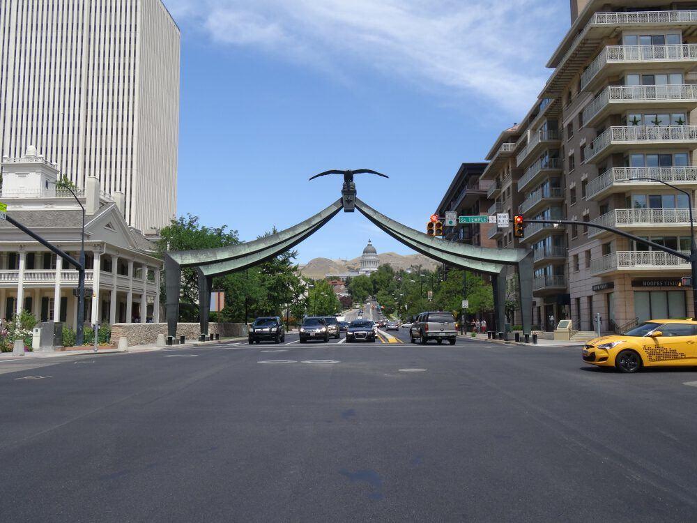 Parlament im Hintergrund - Salt Lake City, Innenstadt