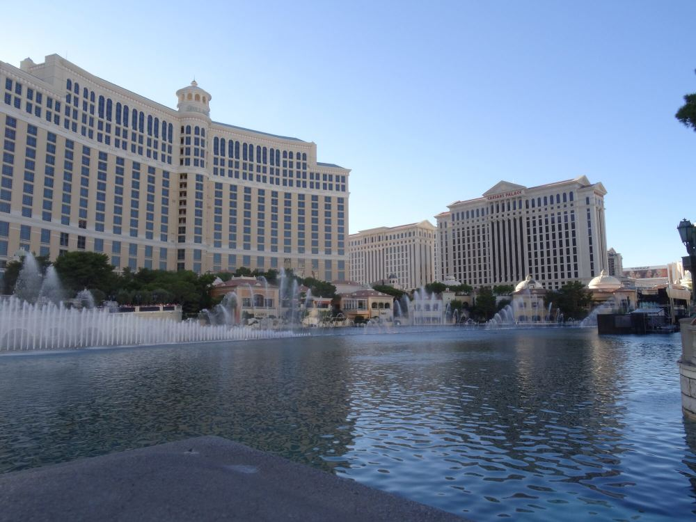 Die weltberühmten Wasserfontänen am Bellagio-Hotel in Las Vegas