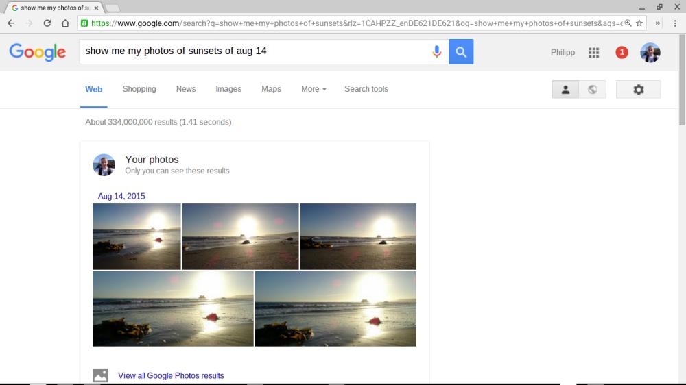 """Suchergebnis zu: """"show me my photos of sunsets"""""""