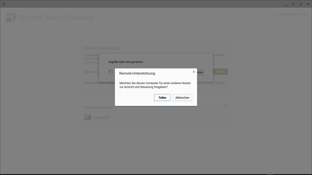 Remote-Zugriff auf Chromebook: Bestätigungsfenster