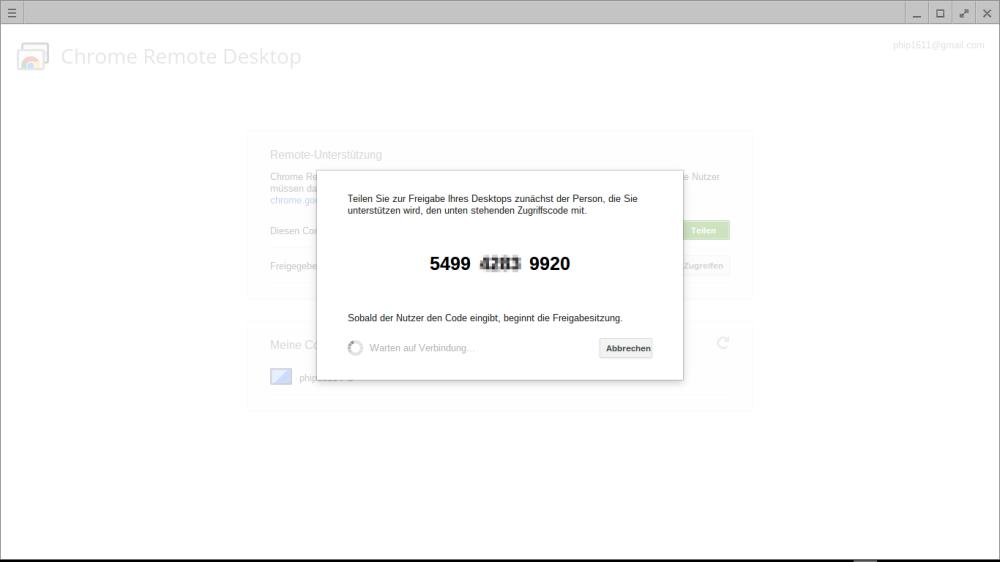 Remote-Zugriff auf Chromebook: Bestätigungscode