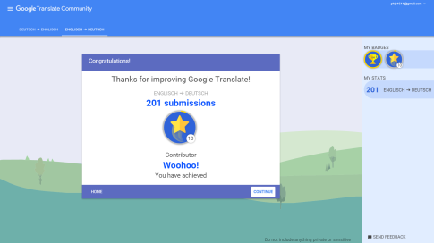 Google Translate Community: Abzeichen erhalten