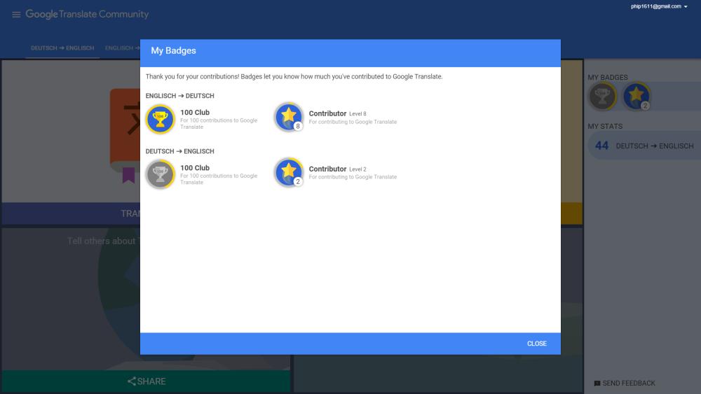 Google Translate Community: verdiente Abzeichen