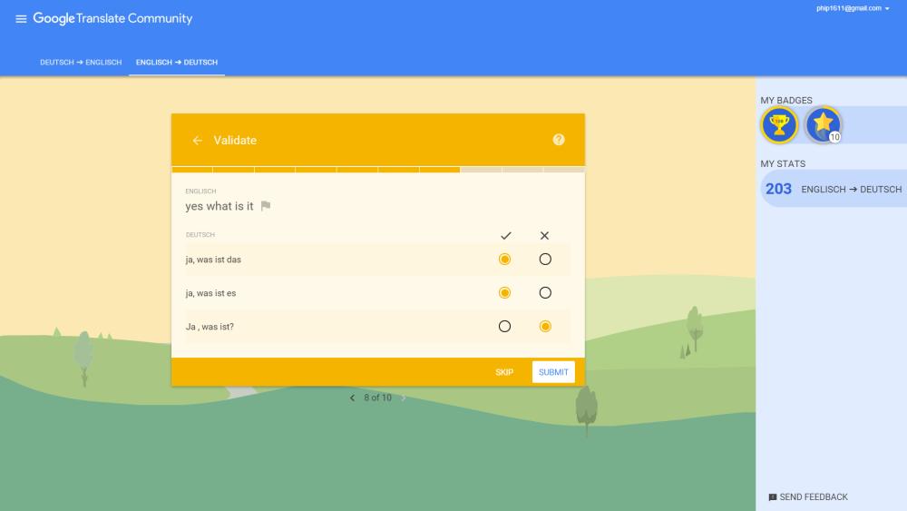 Google Translate Community: übersetzte Sätze und Wortgruppen validieren