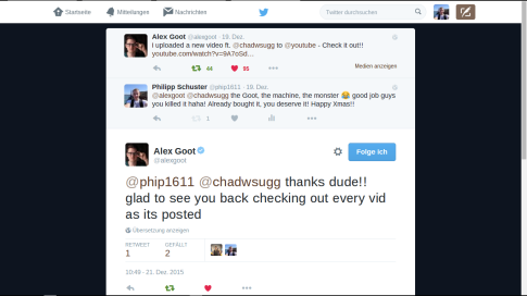 Alex Goot-Twitter-Konversation (Screenshot am 27.12.2015)
