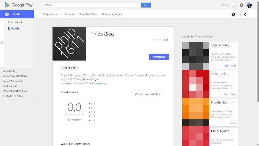 Phips Blog im Google Play Store (Google Play Kiosk)