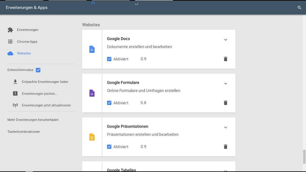 Frühe Vorschau auf die Erweiterungen-Übersicht in Google Chrome