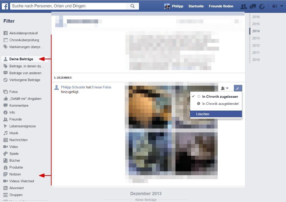Facebook alte Inhalte löschen im Aktivitätenprotokoll