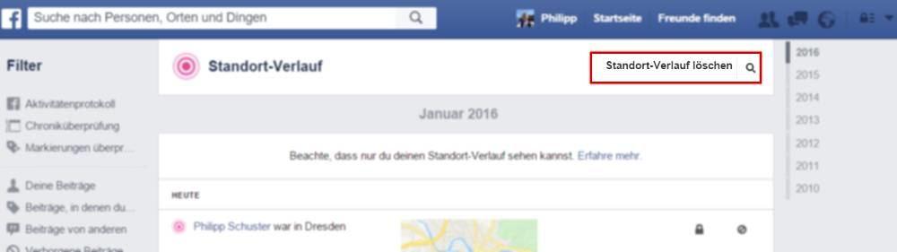Facebook Standortverlauf löschen