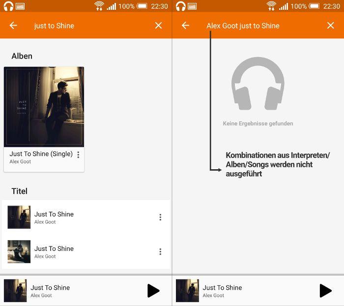 Mangelhafte Google Play Music-App-Suche
