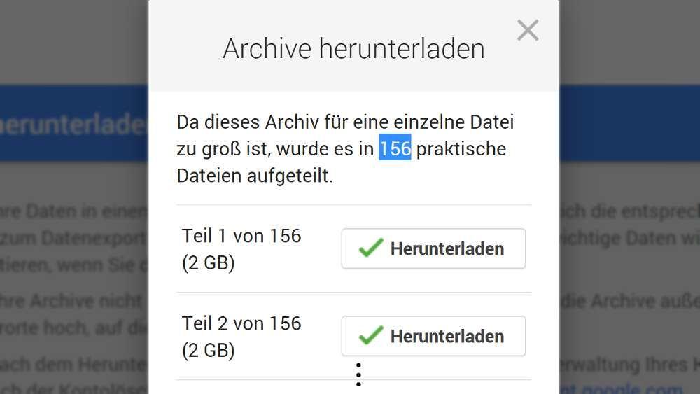 Großer Google-Takeout-Download im ZIP-Format: Unhandlich, nicht nutzbar, unzumutbar