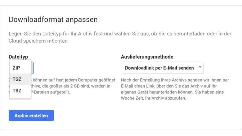 Google Takeout-Download als TGZ-Datei