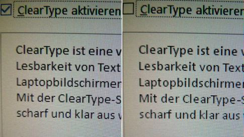 ClearType: an vs. aus