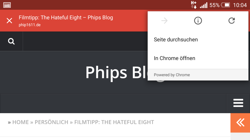 Screenshot: Chrome Custom Tabs in Google Plus (Android)