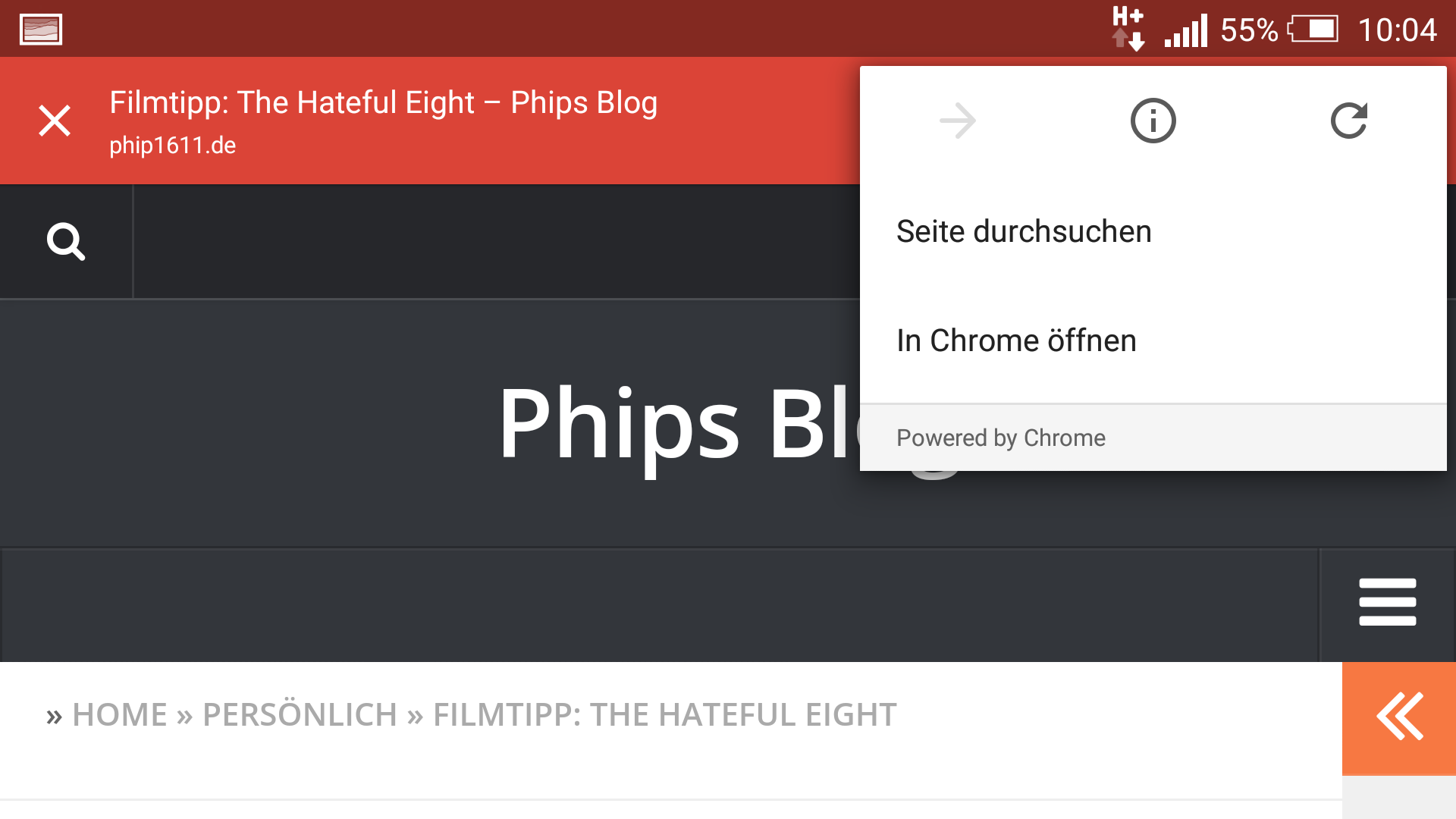 Screenshot: Chrome Custom Tabs in Google Plus (Android)