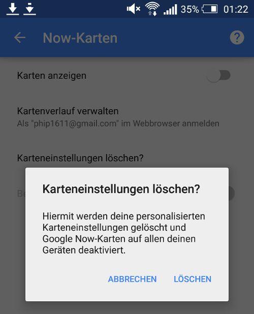 Google Now-Kartenverlauf: Daten in Android löschen