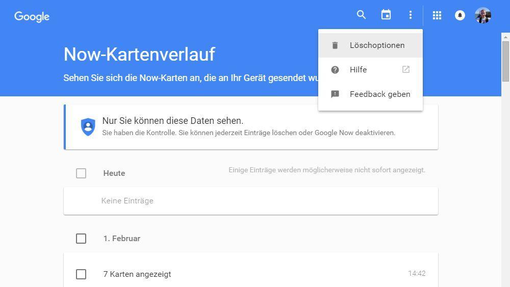 Google Now-Kartenverlauf: Daten im Web löschen