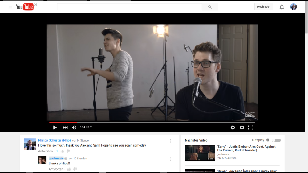 """Here"": Alex Goot & Sam Tsui (Cover) (Quelle: https://www.youtube.com/watch?v=lFw-vJESuRk)"