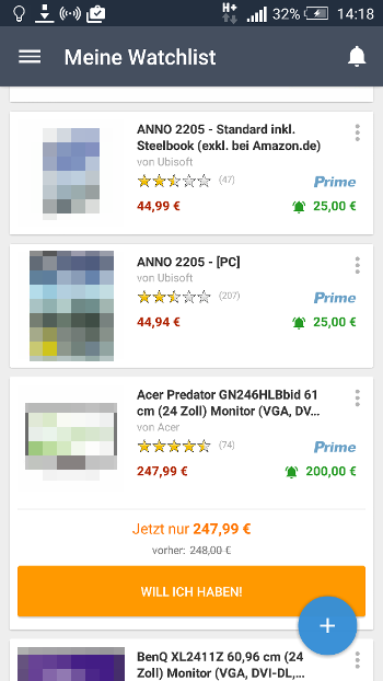 Amazon Preis-Alarm (App): Watchlist