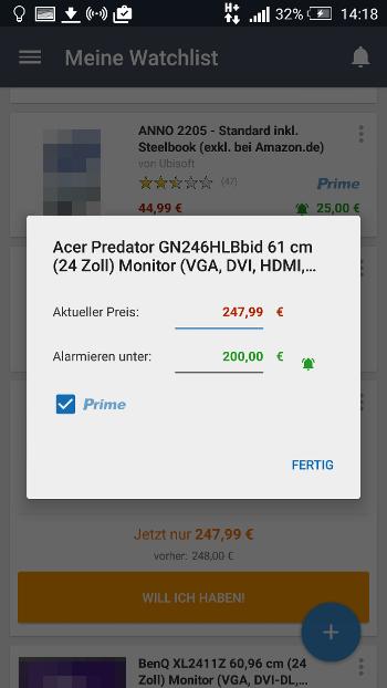 Amazon Preis-Alarm (App): Preisgrenze einstellen