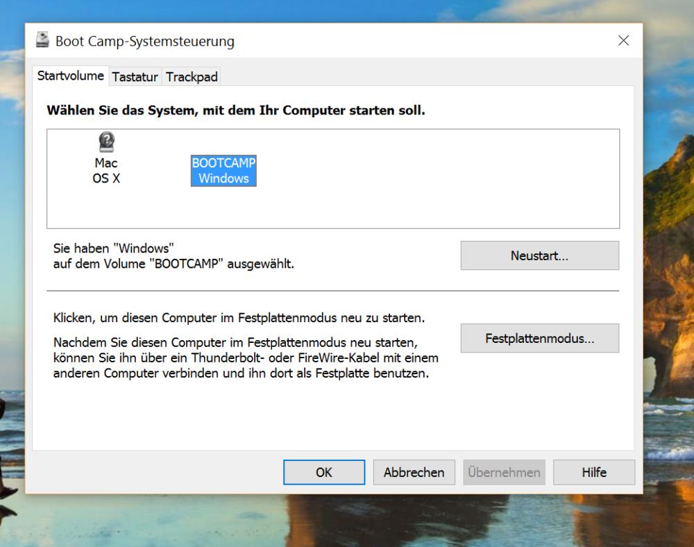 Windows-Bootcamp-Systemsteuerung