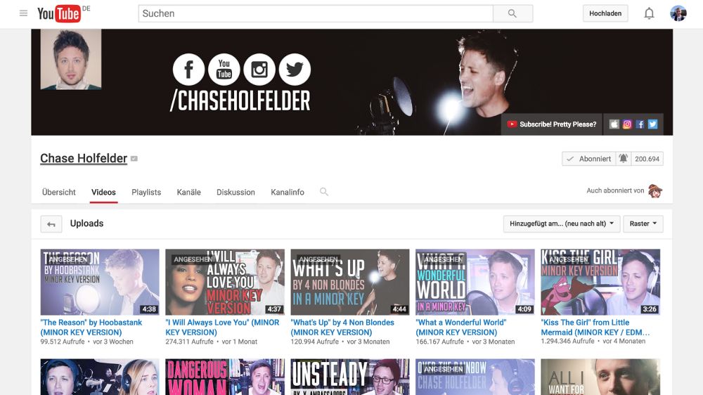 YouTube-Channel: Chase Holfelder