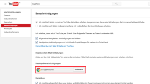 YouTube-Web-Pushbenachrichtigung