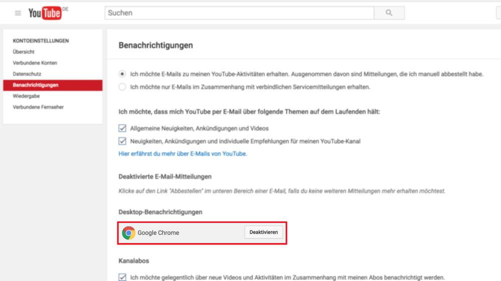 YouTube-Web-Pushbenachrichtigung