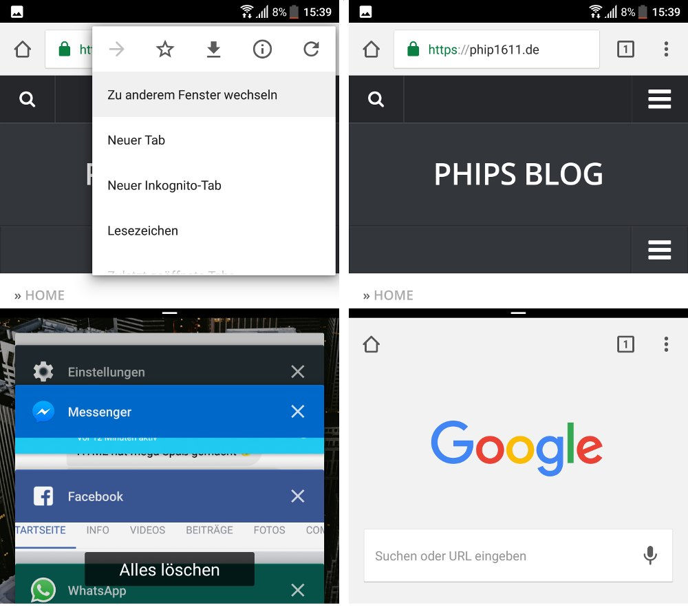 Android 7 auf dem HTC 10: Multiwindow (hier am Beispiel von Google Chrome). Links: Multi-Window: Chrome + Task-Manager, Rechts: zwei Chrome Tabs