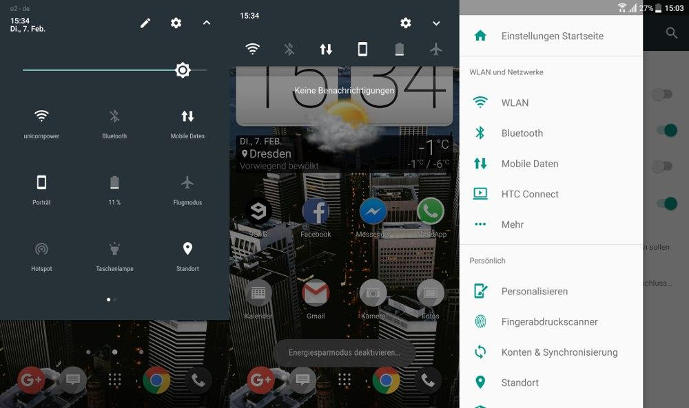Android 7 Update für das HTC 10. Links und in der Mitte die Quicksettings, Rechts die neuen Einstellungen inklusive Hamburger-Menü