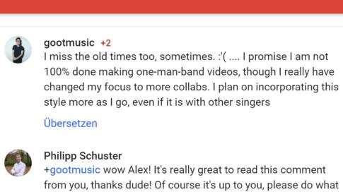 Alex Goots Antwort auf mein Kommentar bei Youtube/Google+