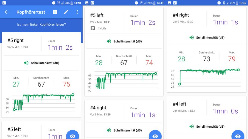 Google Science Journal: Testdaten um Kopfhörer zu testen