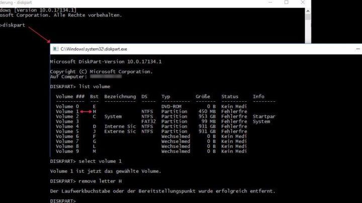 Windows 10: Diskpart Fehlerbehebung nach Spring Update 2018