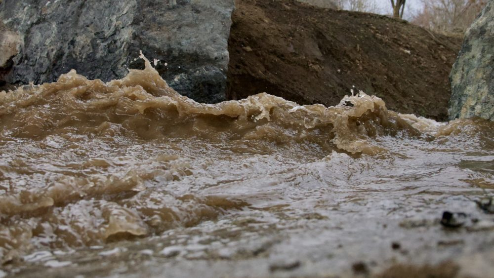 Regen- und Schmelzwasser unter der B170 bei der Auffahrt Südvorstadt auf die A17 - 10.02.2019