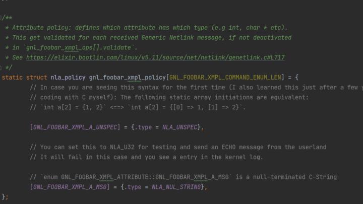 Netlink code snippet (kernel code)